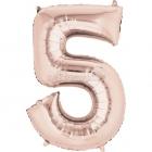 58cm x 86cm Skaitlis 5 Folija balons Super figure Rozā Zelts