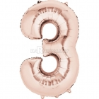 53cm x 88cm Skaitlis 3 Folija balons Super figure Rozā Zelts