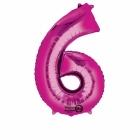 55cm x 88cm Skaitlis 6 Folija balons Super figure Rozā