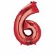 """55cm x 88cm Ciparu folijas balons sarkana krāsa """"6"""",   folijas figūra paredzēta piepūšanai ar hēliju"""