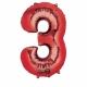"""53cm x 88cm Ciparu folijas balons sarkana krāsa """"3"""",   folijas figūra paredzēta piepūšanai ar hēliju"""