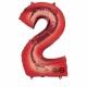 """50cm x 88cm Ciparu folijas balons sarkana krāsa """"2"""",   folijas figūra paredzēta piepūšanai ar hēliju"""