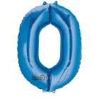 66cm x 88cm Skaitlis 0 Folija balons Super figure Zilā