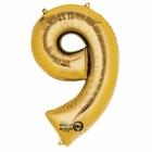 """Ciparu folijas balons zelta krāsā  """"0"""",  63cm x 86cm, folijas figūra paredzēta piepūšanai ar hēliju"""