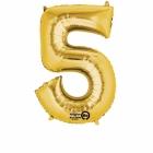 """Ciparu folijas balons zelta krāsā  """"5"""",  58cm x 86cm, folijas figūra paredzēta piepūšanai ar hēliju"""