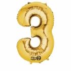 """Ciparu folijas balons zelta krāsā  """"3,  53cm x 88cm, folijas figūra paredzēta piepūšanai ar hēliju"""