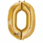 """Ciparu folijas balons zelta krāsā  """"0"""",  66cm x 88cm, folijas figūra paredzēta piepūšanai ar hēliju"""
