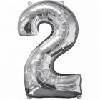 43cm x 66cm Skaitlis 2 Folija balons Super figure Sudrabs