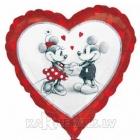 Miki un Minnie LOVE - sirdsformas folijas balons piepūšams ar hēliju. Izmērs 43 cm