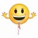 """Folijas hēlija balons """"Emoži – Smaidiņs ar rokām"""",  izmērs 99 x 55 cm,"""