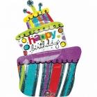 """Folijas hēlija balons """"Dzimšanas diena"""", prizmatiskais, 61 x 94 cm izmērs,"""