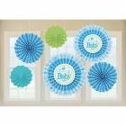 6 Paper Fan Decorations Welcome Little One - Boy 21 cm/30 cm/40 cm