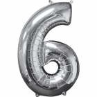 43 x 66 cm Skaitlis 6 Folija balons Super figure Sudrabs