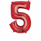 58cm x 86cm Skaitlis 5 Folija balons Super figure Sarkana