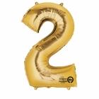 """Ciparu folijas balons zelta krāsā """"2"""",  87cm, folijas figūra paredzēta piepūšanai ar hēliju"""