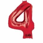 """Ciparu folijas balons sarkana krāsa """"4"""",  87cm, folijas figūra paredzēta piepūšanai ar hēliju"""