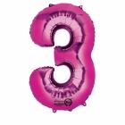 """Ciparu folijas balons rozā krāsa """"3"""",  87cm, folijas figūra paredzēta piepūšanai ar hēliju"""