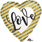 Sirds formas balons LOVE roku rakstīts ar zeltām svītriņām,  izmērs 43 cm., piepūšams ar hēliju