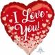 ILY Roze Gold Hearts - sirds formas folijas balons, izmērs 43 cm., piepūšams ar hēliju