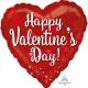 Happy Valentins's Day - sirds formas folijas balons  Valentindienai, izmērs 43cm, piepūšams ar hēliju
