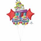 """5 hēlija balonu komplekts """"Dzimšanas dienas torte"""", 1 balons x 80 cm. un 4 baloni x 45 cm,"""