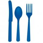 Galda piederumi (karotes,naži,dakšiņas) 8 koml.plast. spilgti zilā krāsā