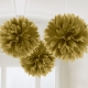 3 Fluffy Decorations Gold 40.6 cm