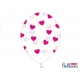 Lateksa baloni, caurspidīgs ar rozā sirdim 1.gab. 30 cm
