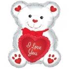 """Folijas gaisa balons """"Mīļu Tevi lācis, balts ar sarkanu"""", 30 x 20 cm,  lietojams ar kociņu (nav komplektā)"""