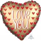 "Folija balons ""Jumbo Love You Gold"" Satin Luxe liels sirds formas balons 71 x 71 cm, hēlija apjoms 0.054 kbm"