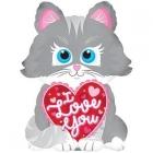 """Folijas gaisa balons """"Mīļu Tevi pelēks kāķis"""", 25 x 20 cm,  lietojams ar kociņu (nav komplektā)"""