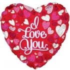 """Folijas hēlija balons """"Mīļu tevi"""" ar prizmatiskām sirdīm, 43 cm,"""