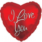 Folija sirds formas balons Mīļu Tevi mūsdienīgs raksts, sarkans, 43 cm.,
