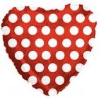 Folija sirds formas balons ar punktiem, sarkans, 43 cm.,