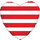 Folija sirds formas balons ar svītrām, sarkans, 43 cm.,