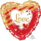 "Sirds formas hēlija balons ar kruzuli ""Sarkana un zelta mīlestība"", izmērs 71 cm"