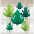 Palmu lapas - havaju papīra dekori,  6 gab. 20-40 cm.