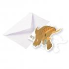"""Ielūgumu kartiņas un aploksnes """"Laimīgs Dinozaurs"""" 8 gab"""