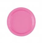 Šķīvīši, papīra, spilgti rozā, 18 cm, 8 gab