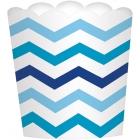 Mini trauciņi uzkodām, zili, zigzagi, 7.3 x 7.3 x 2.8 cm., 24 gab
