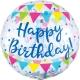 Caurspīdigs hēlija balons Dzimšanas dienai, zils ar konfeti, izmērs 73cm