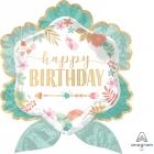 """Folijas hēlija balons """"Dzimšanas diena Boho stilā"""", izmērs 63 x 68 cm,"""