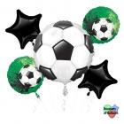 "5 balonu komplekts ""Futbols"" – 1 balons x 60 cm. un 4 baloni x 45 cm,"