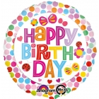 """Apaļš folijas balons """"Sveicam Dzimšanas Dienā"""" ar krāsainiem punktiem, iepakots 43 cm"""