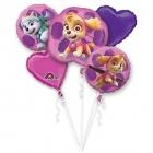 """5 hēlija balonu komplekts """"ĶEPU PATRUĻA"""", rozā, 1 balons x 80 cm. un 4 baloni x 45 cm,"""