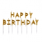 Happy Birthday sveces tortam  zelta krāsā 7.3 cm 13 gab.