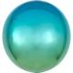 Apaļš folijas  balons, zili-zaļš ar ombré efektu,  Orbz ®, diametrs 43 cm, piepūšams ar hēliju