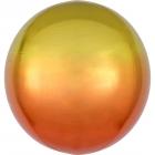 Apaļš folijas  balons, dzelteni-oranžs ar ombré efektu,  Orbz ®, diametrs 43 cm, piepūšams ar hēliju