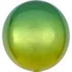 Apaļš folijas  balons, dzelteni-zaļs ar ombré efektu,  Orbz ®, diametrs 43 cm, piepūšams ar hēliju