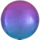 Apaļš folijas balons, sarkani-zils ar ombré efektu,  Orbz ®, diametrs 43 cm, piepūšams ar hēliju
